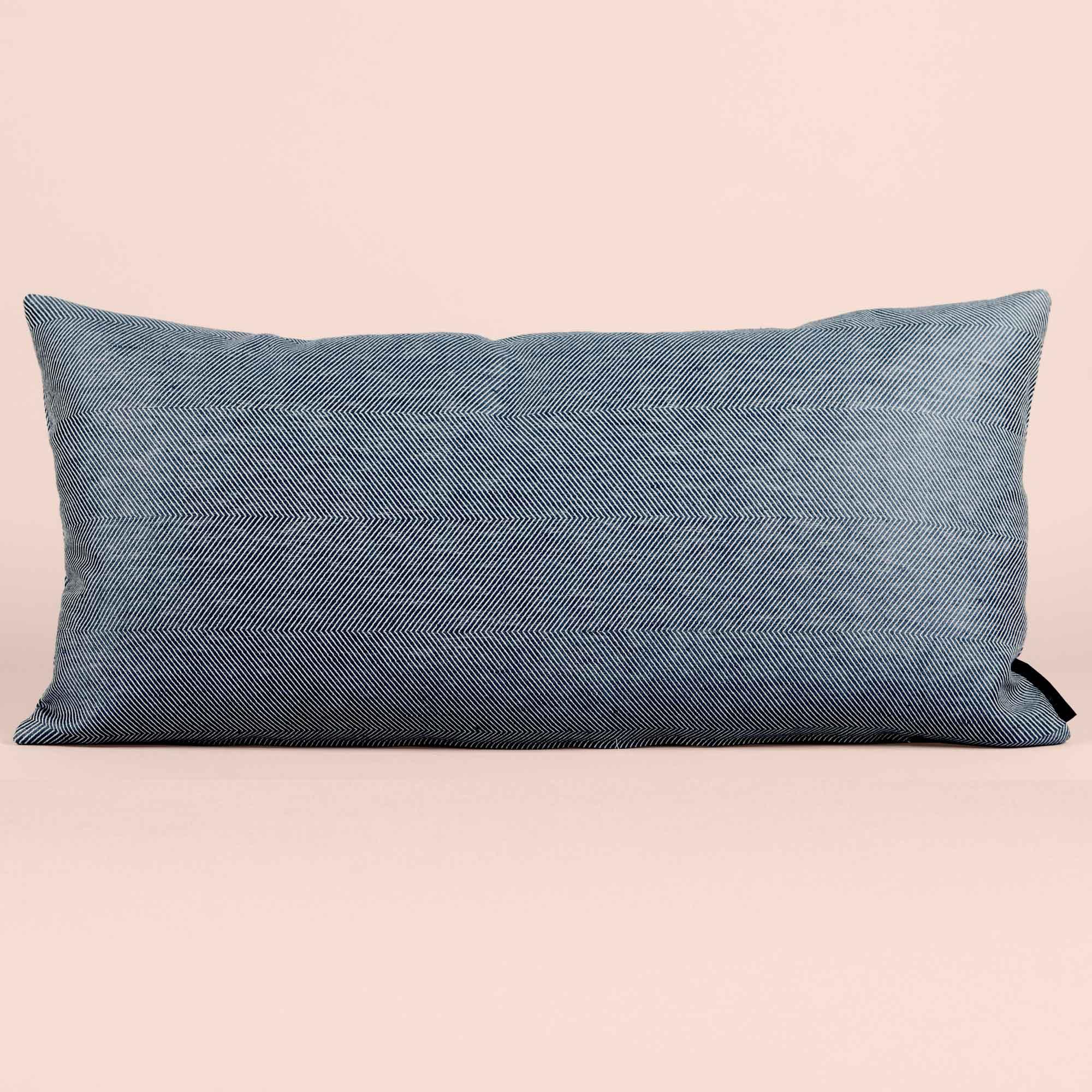 Rectangular cushion linen/cotton indigo blue design by Anne Rosenberg, RosenbergCph