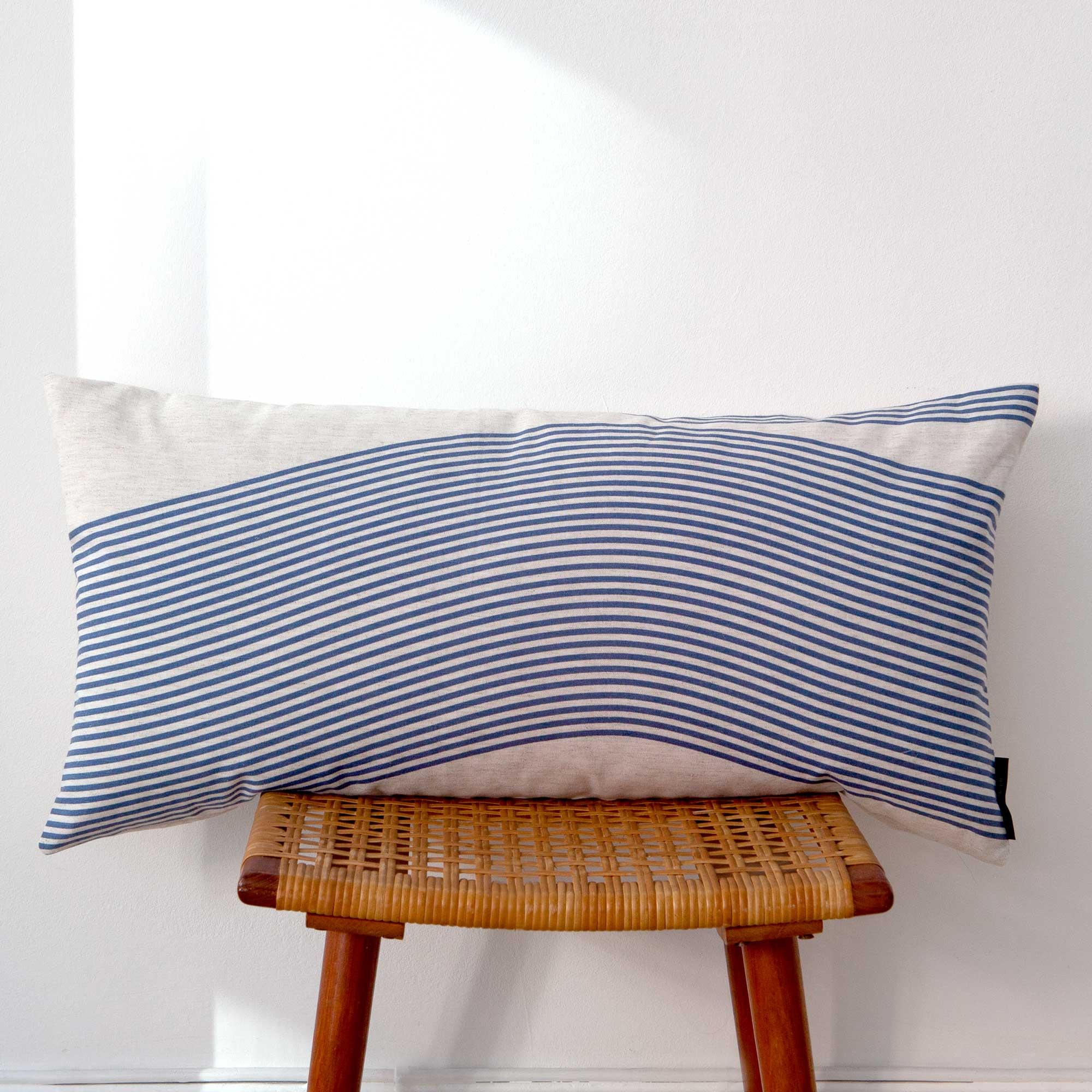 Rectangular cushion River blue pattern design by Anne Rosenberg, RosenbergCph