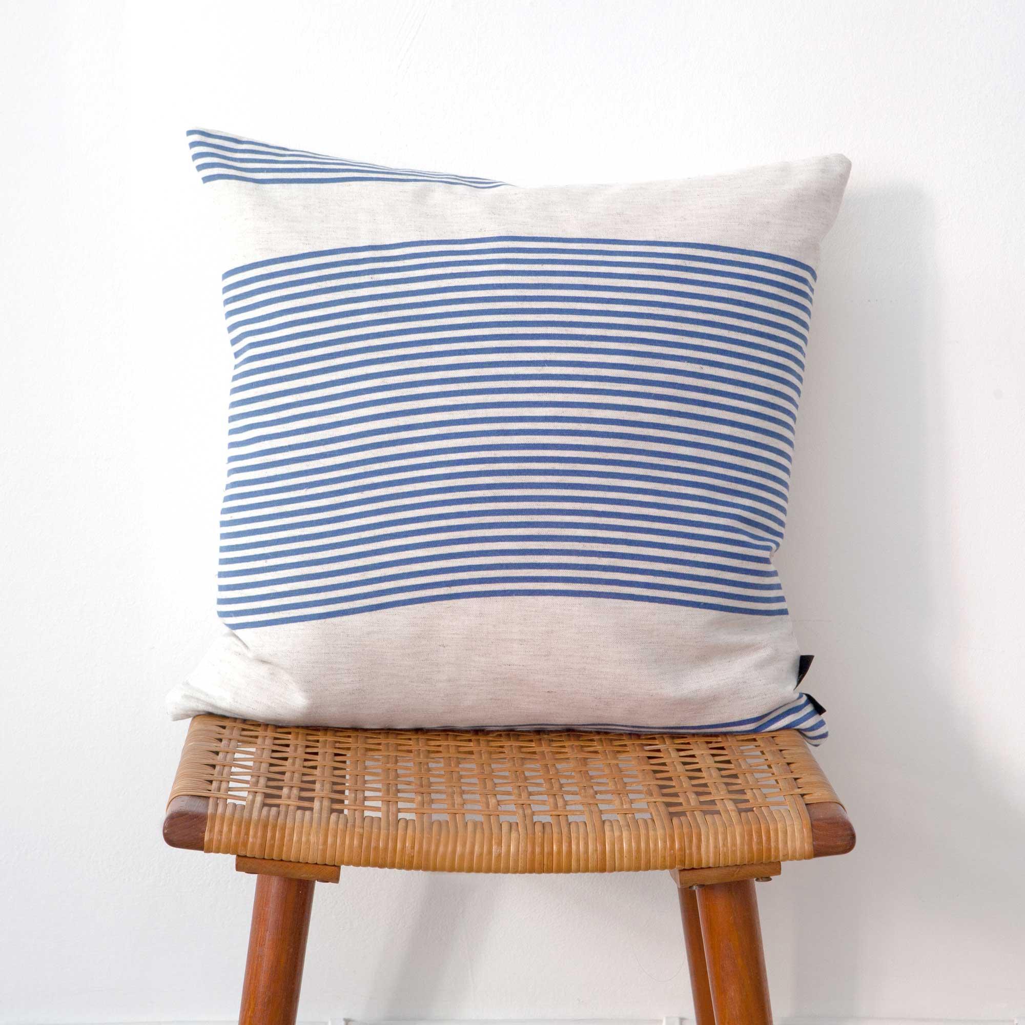 Square cushion River blue pattern design by Anne Rosenberg, RosenbergCph