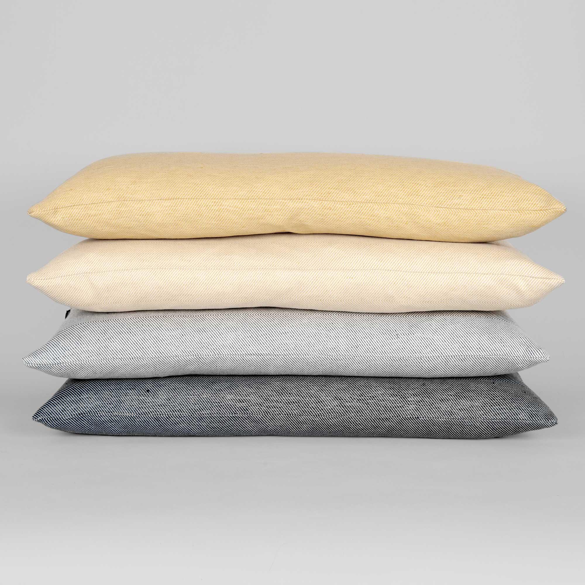Rectangular cushions in linen/cotton herringbone weave, design by Anne Rosenberg, RosenbergCph