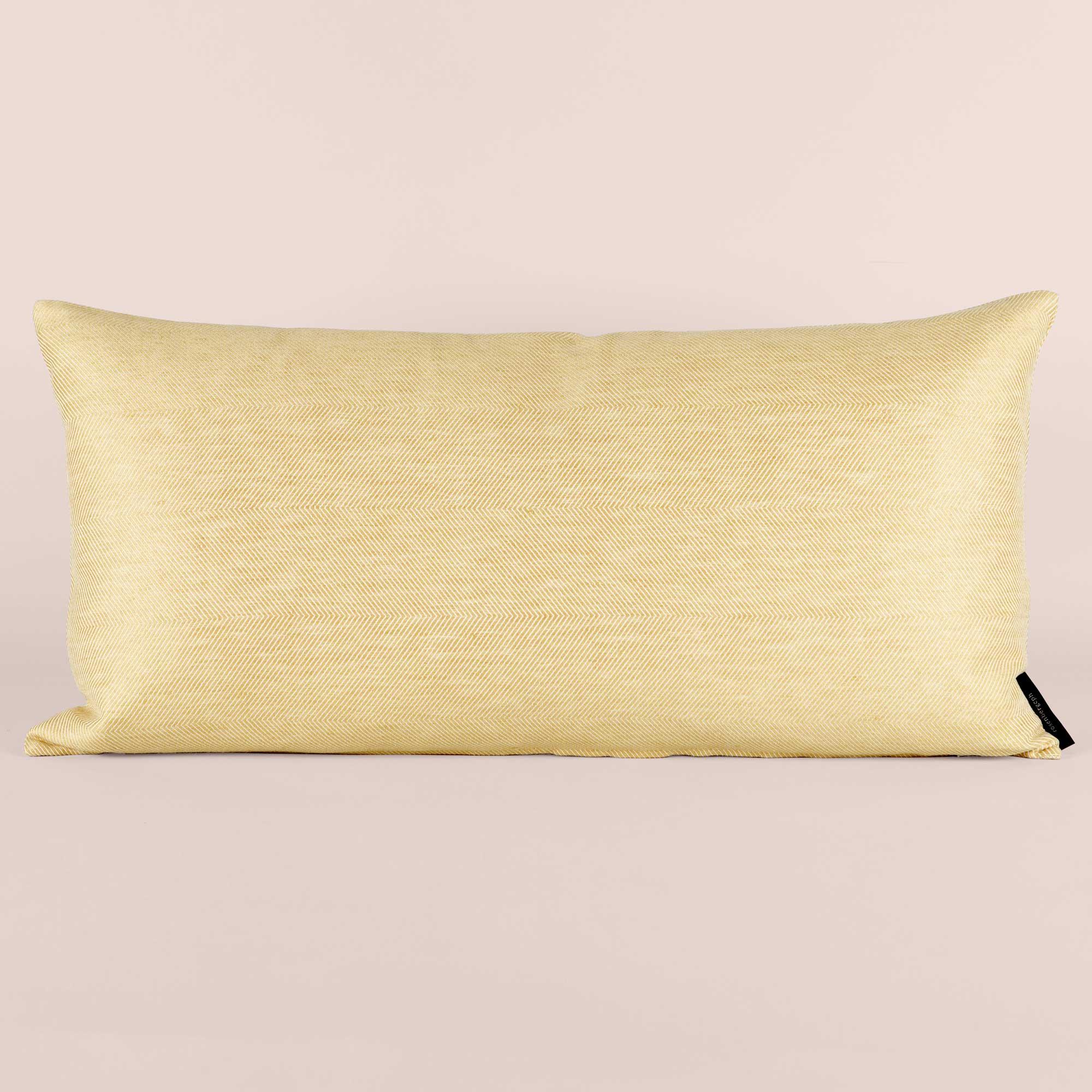 Rectangular cushion linen/cotton hay yellow design by Anne Rosenberg, RosenbergCph