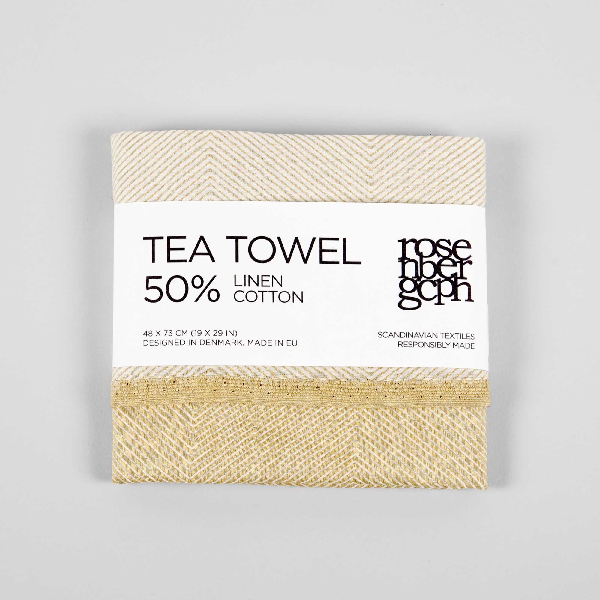 Tea towel, linen/cotton hay yellow design by Anne Rosenberg, RosenbergCph