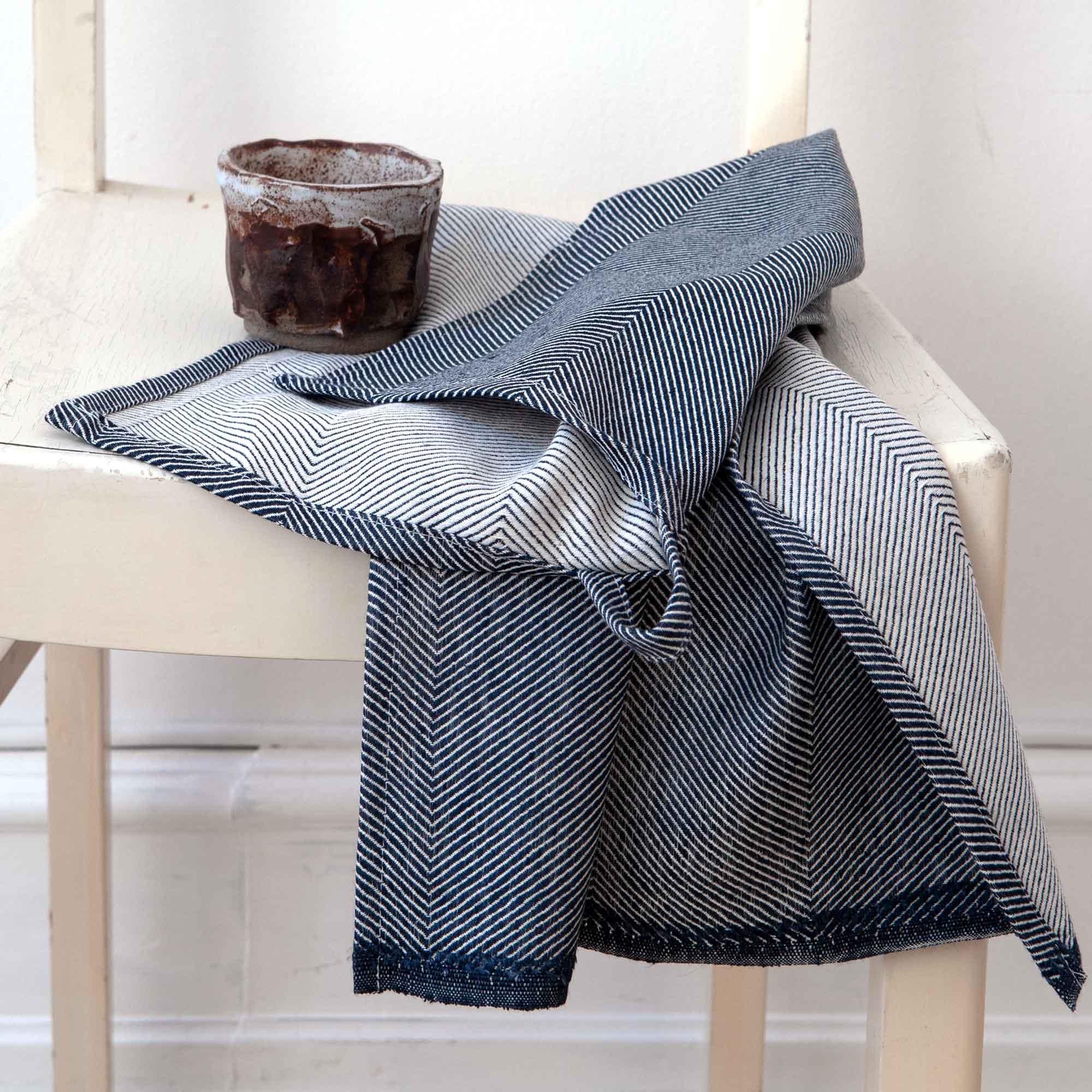 Tea towel, indigo, linen/cotton, design by Anne Rosenberg, RosenbergCph