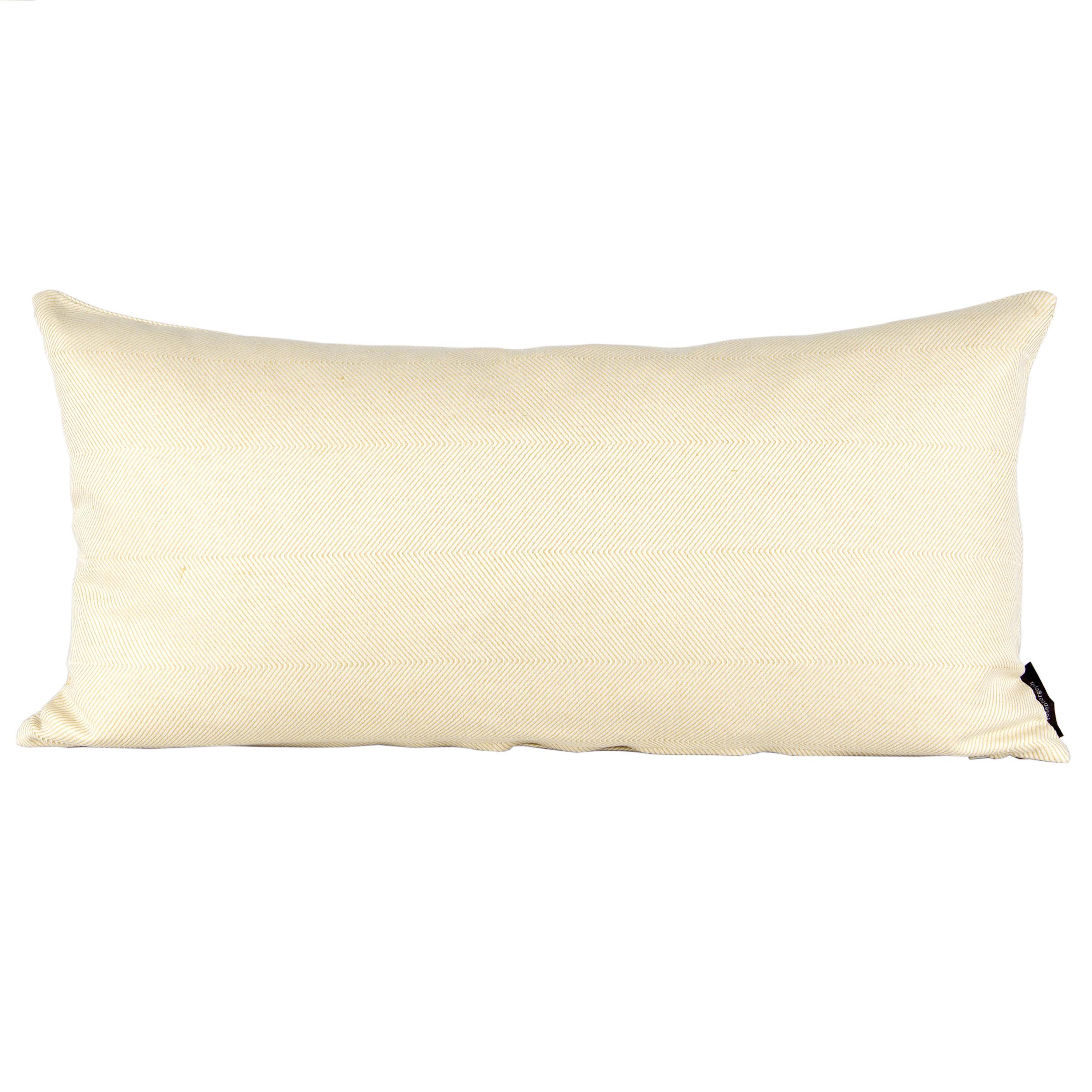 Rectangular cushion linen/cotton light hay yellow design by Anne Rosenberg, RosenbergCph