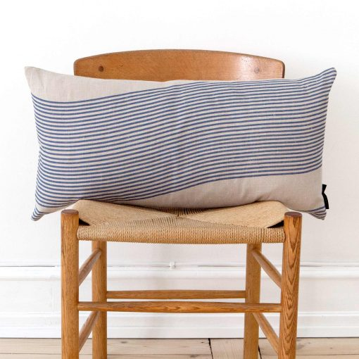 Rectangular linen cushion in River pattern, design Anne Rosenberg, RosenbergCph