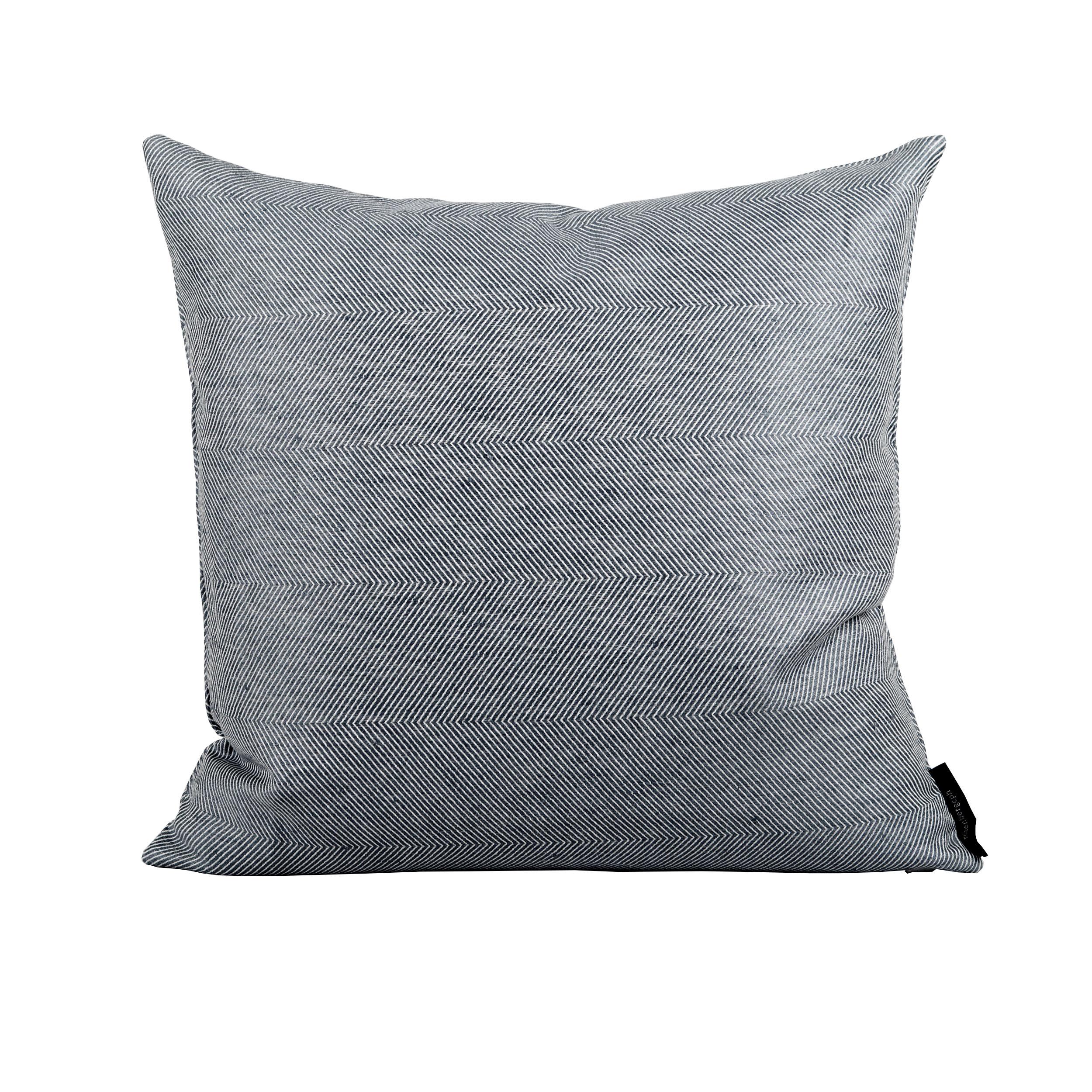 Square cushion linen/cotton indigo blue design by Anne Rosenberg, RosenbergCph