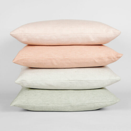 All green and coral linen/cotton cushions