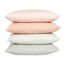 square linen/cotton cushions green/coral