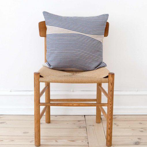 Square linen cushion in River pattern, design Anne Rosenberg, RosenbergCph
