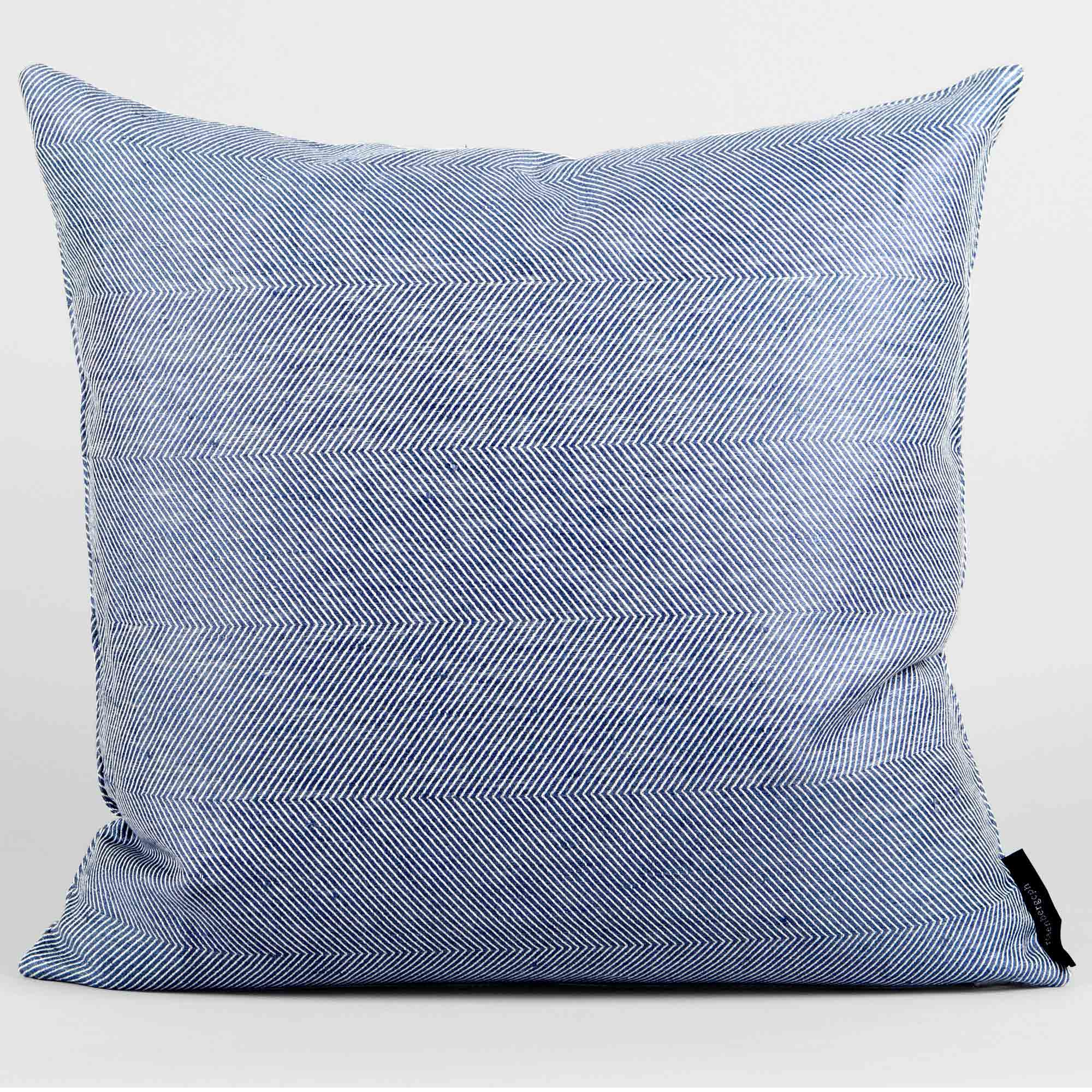 Square cushion, linen/cotton, blue