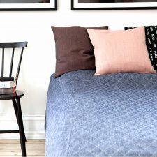 Bedspread, 100% linen, dark blue