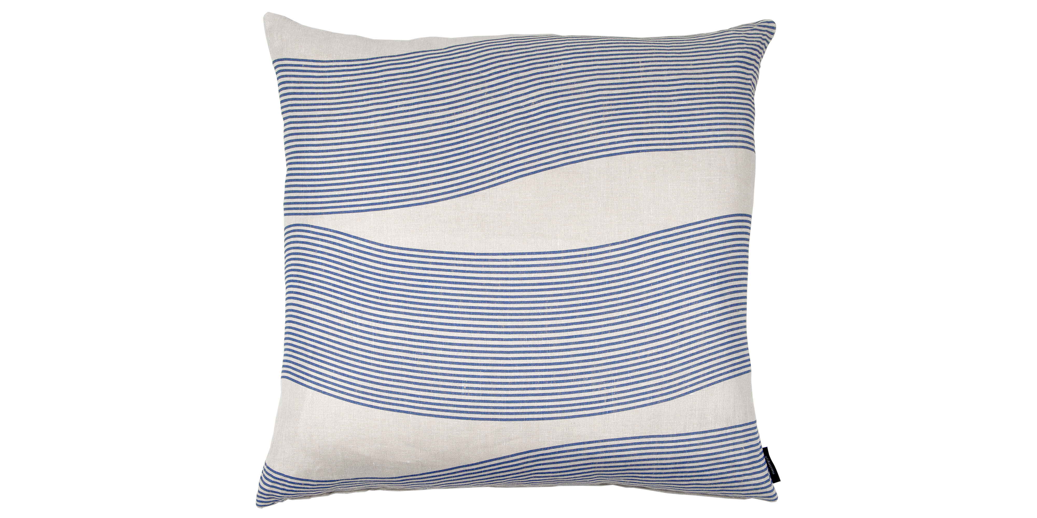 Floor, 80x80cm linen cushion in River pattern, design Anne Rosenberg, RosenbergCph