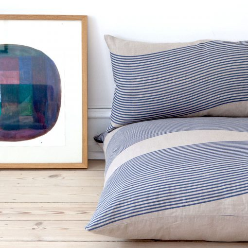 Floor cushion, River blue, 100 % linen, design by Anne Rosenberg, RosenbergCph
