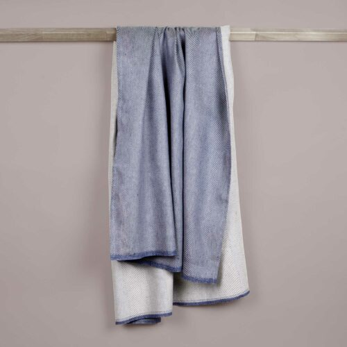 Bath towel, linen/cotton, indigo blue