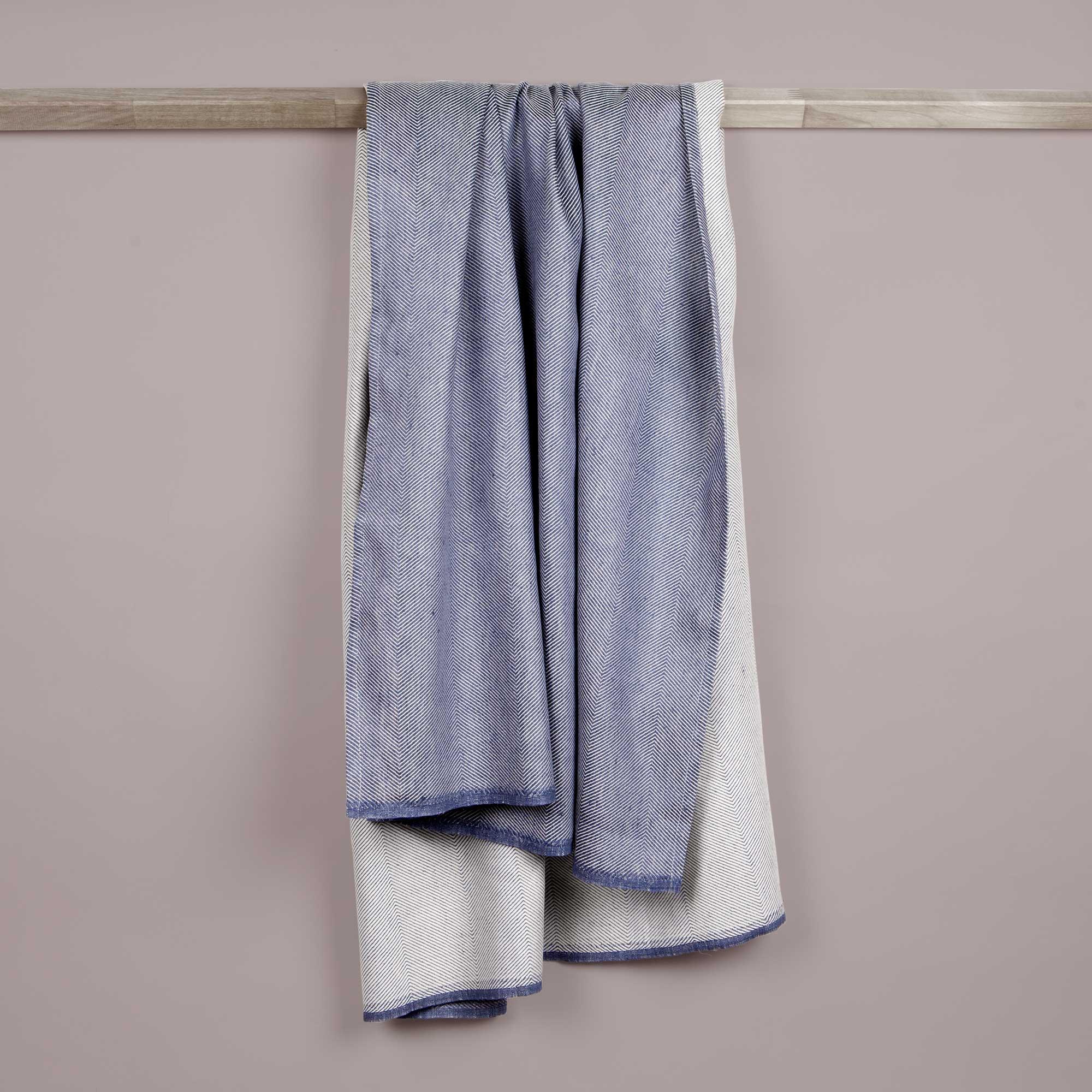 Bath towel, linen/cotton, indigo blue