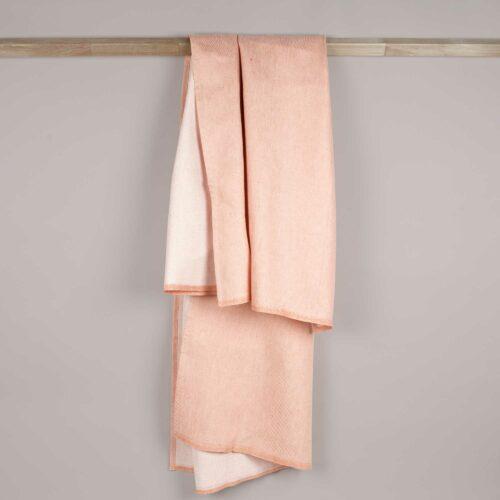 Bath towel, linen/cotton, Dusty coral