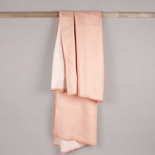 Bath towel, linen/cotton, Dusty coral