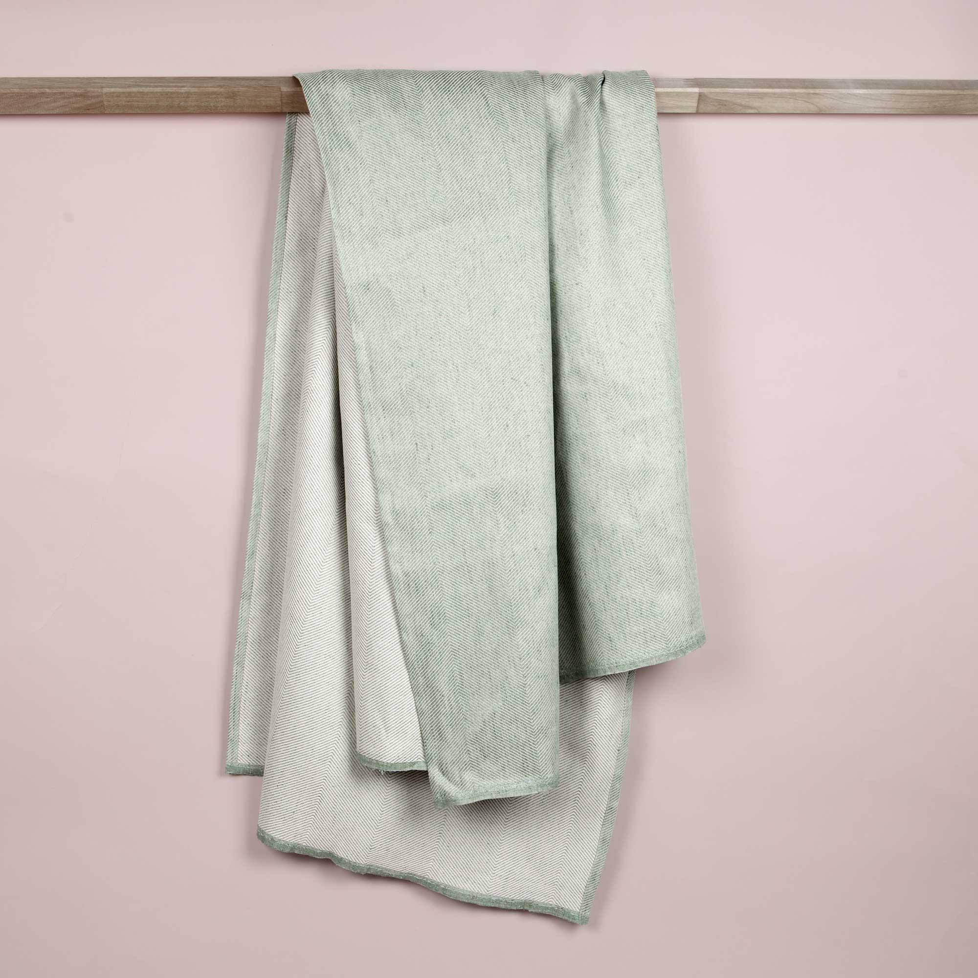 Bath towel, linen/cotton, Aqua green