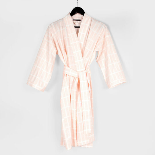 Kimono bathrobe, Tile pale rose, organic cotton