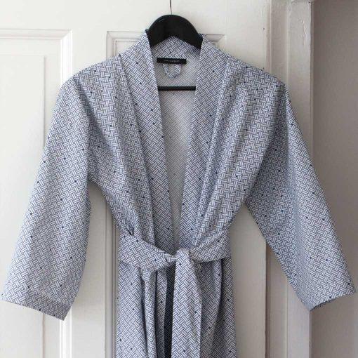 Kimono bathrobe, Weave navy blue, organic cotton