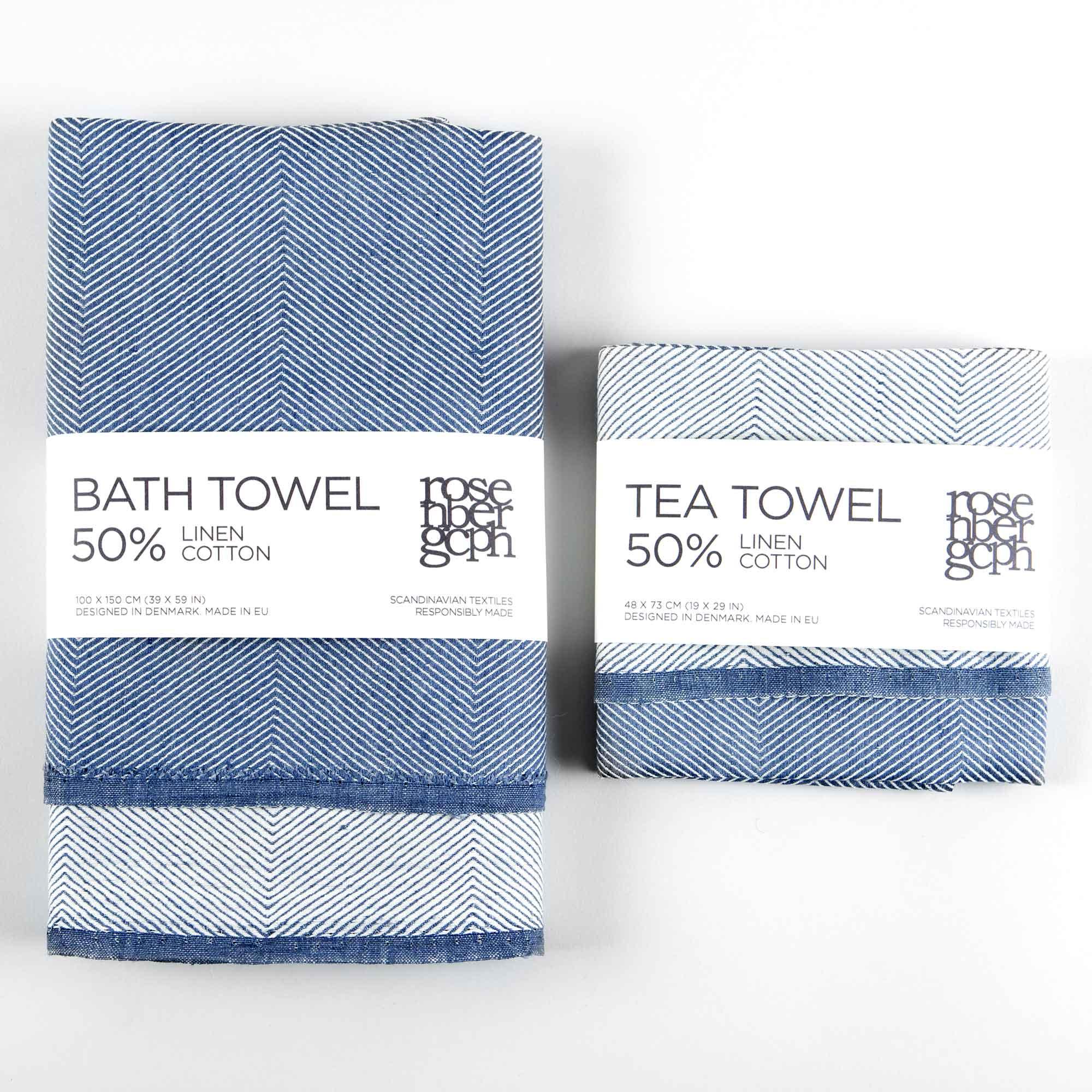 Tea Towel, Linen/cotton Blue