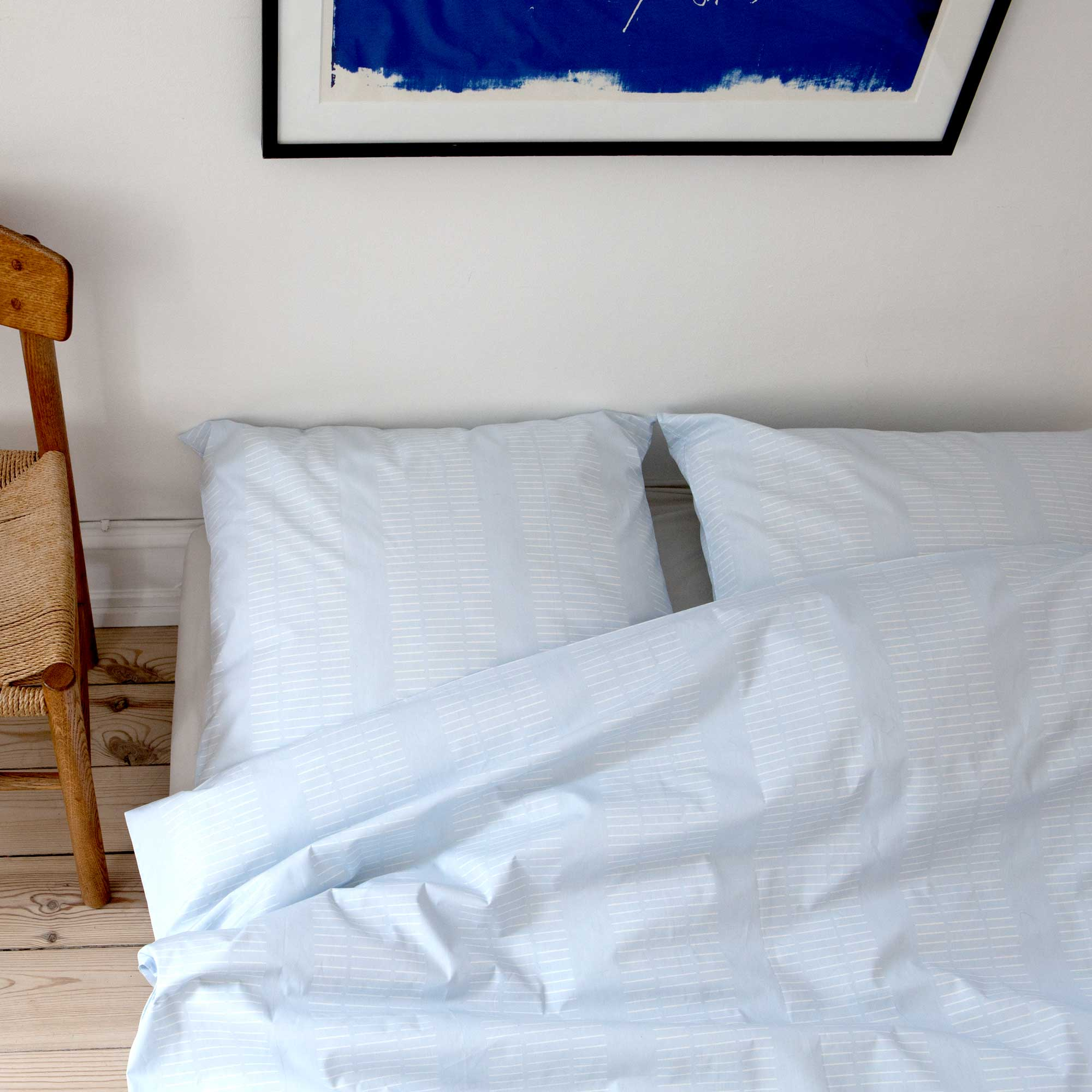 Bed linen, organic cotton, Dash Morning Sky, design by Anne Rosenberg, RosenbergCph