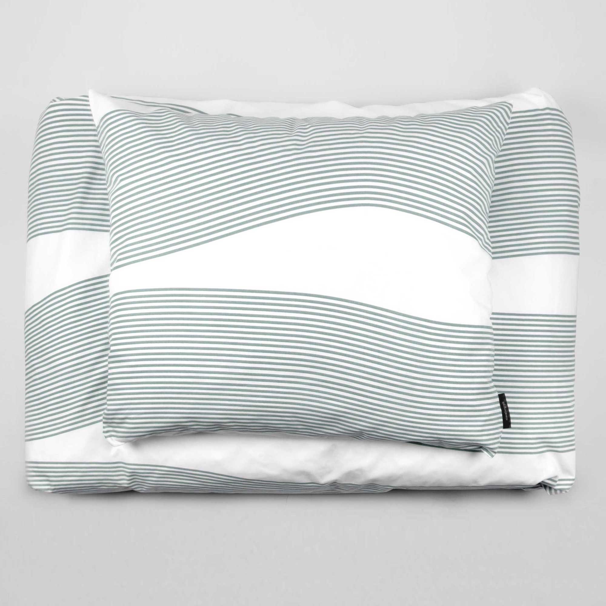 Bed linen, River aqua green, design by Anne Rosenberg, RosenbergCph