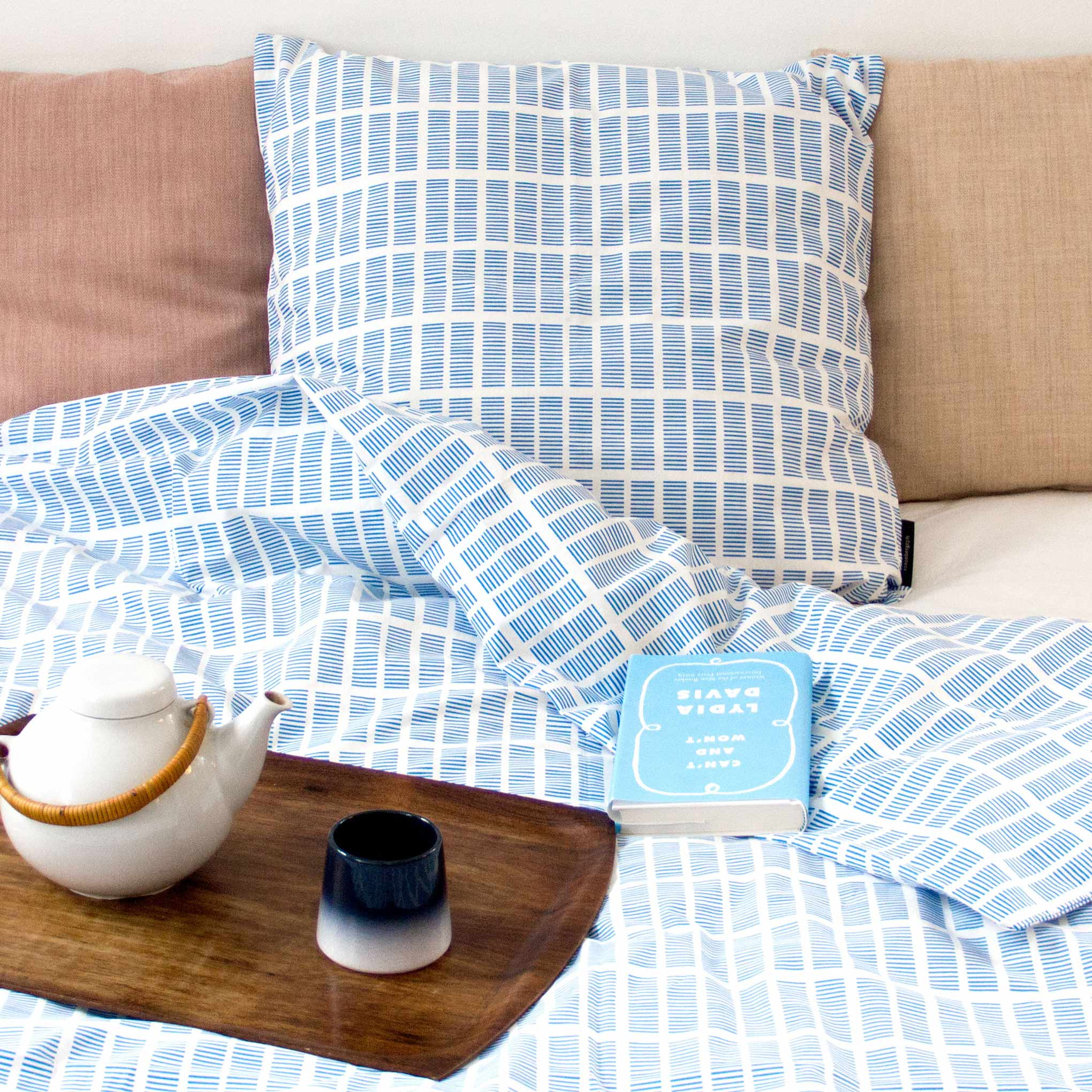 Bed linen, Tile blue interior