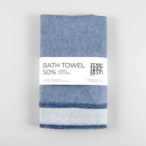 Bath towel, linen/cotton, blue