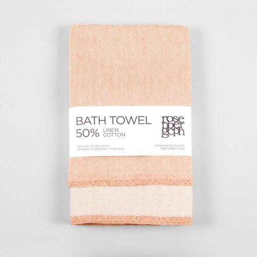 Bath towel, linen/cotton, coral