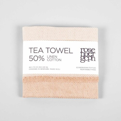 Tea towel, linen/cotton, coral
