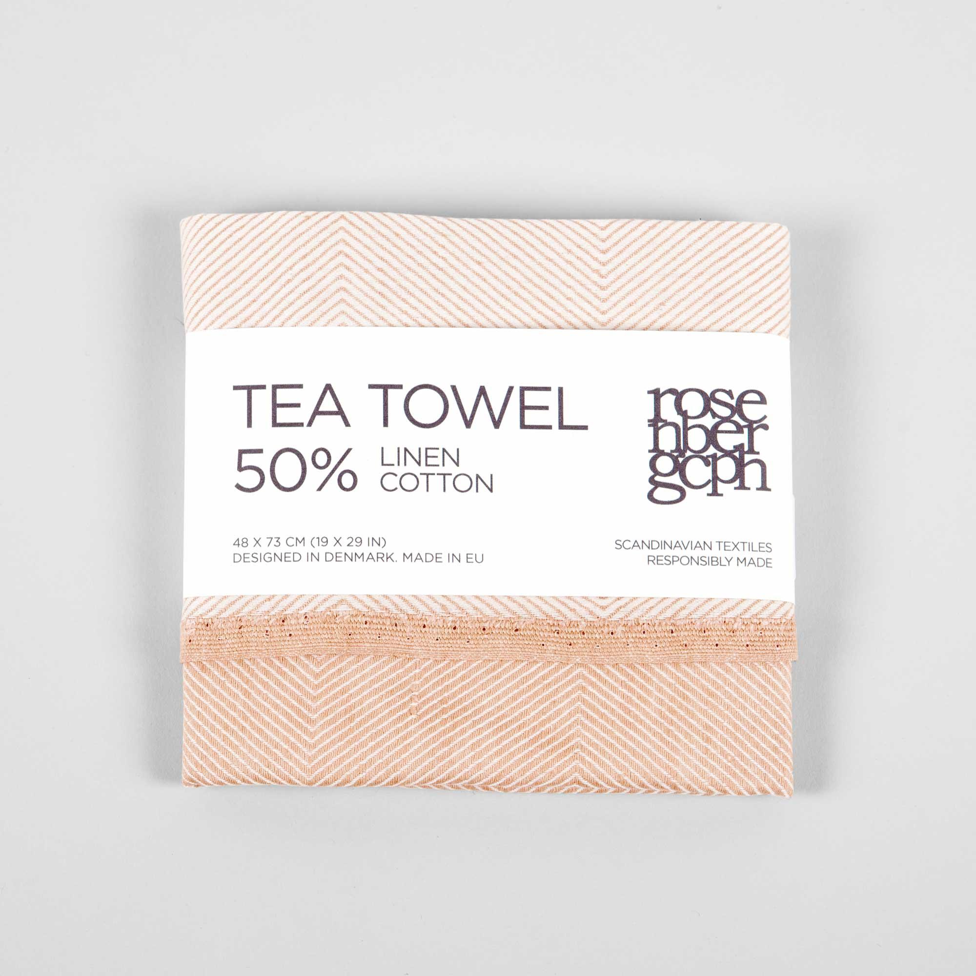 Tea towel, linen/cotton, coral