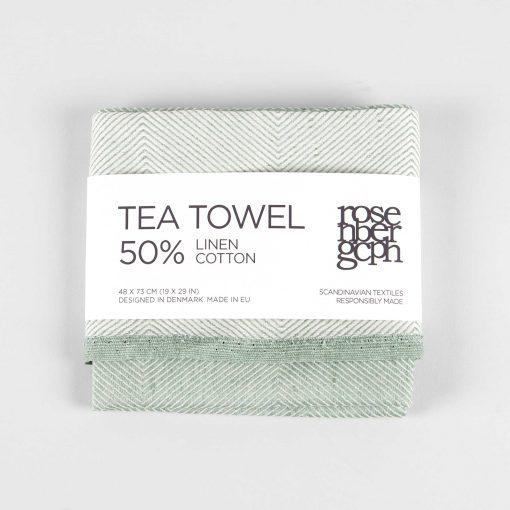 Tea towel, linen/cotton, aqua green