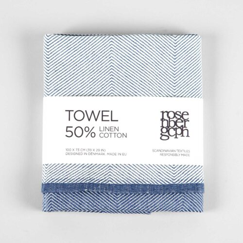 Towel, linen/cotton, blue