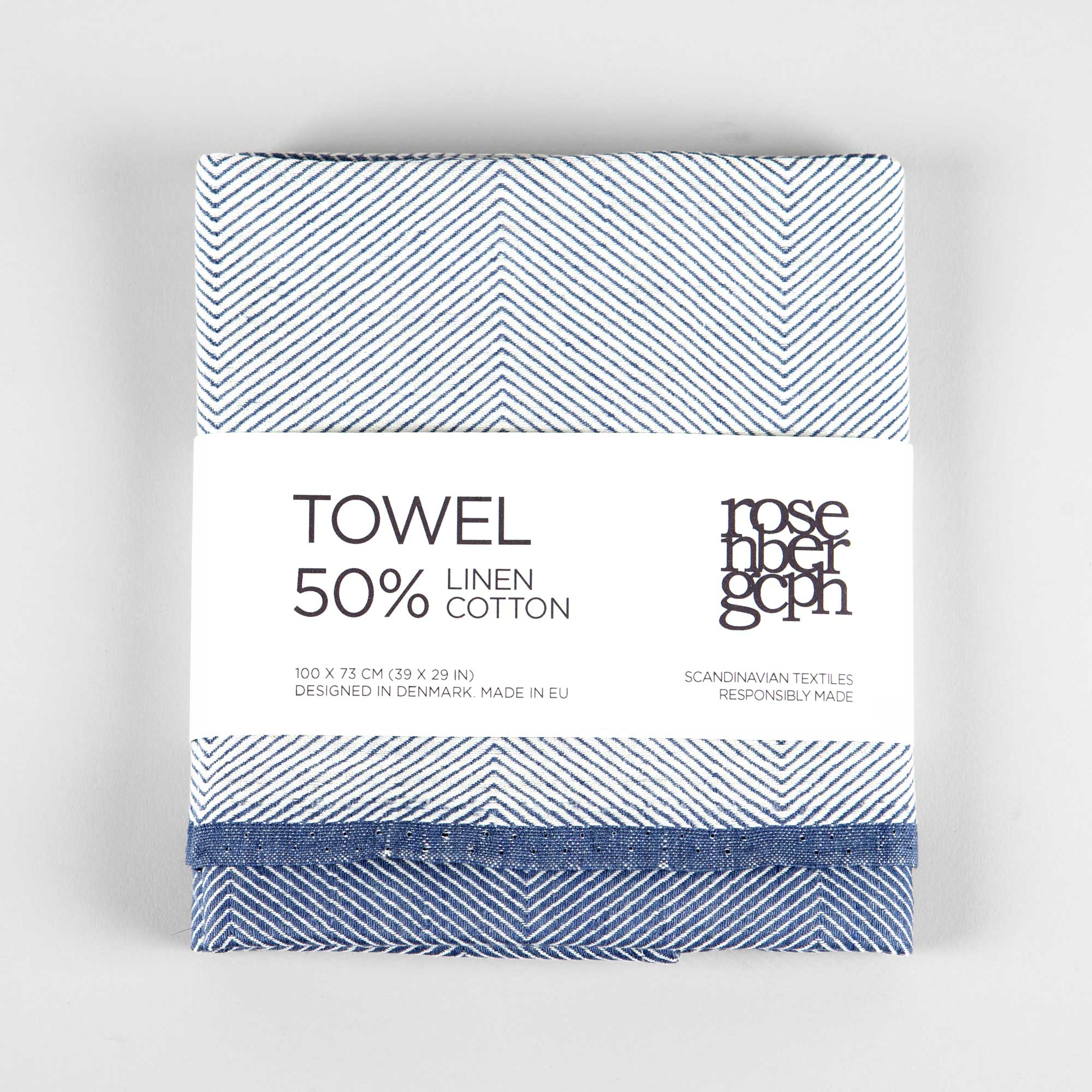 Towel, linen/cotton, blue