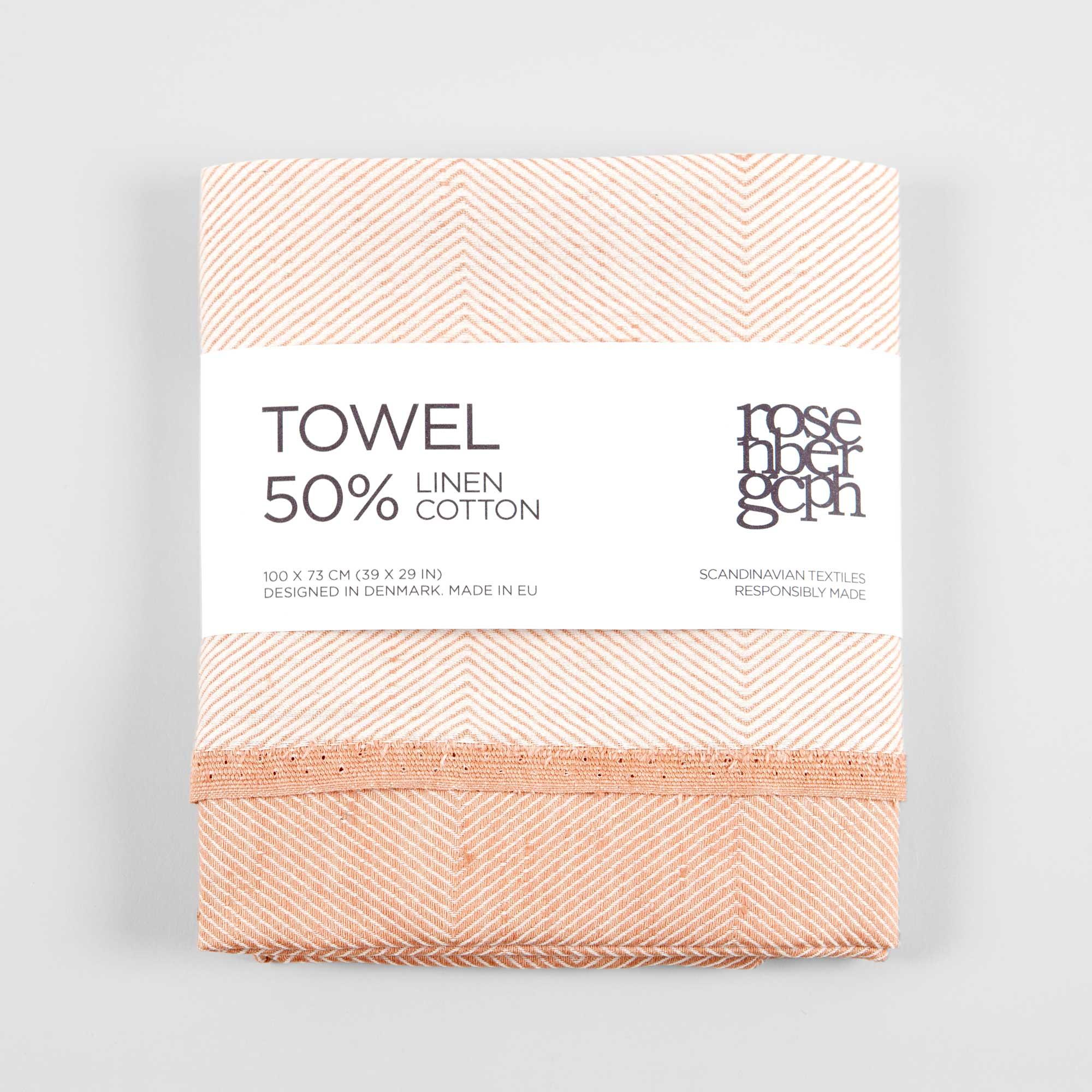 Towel, cotton/linen, coral