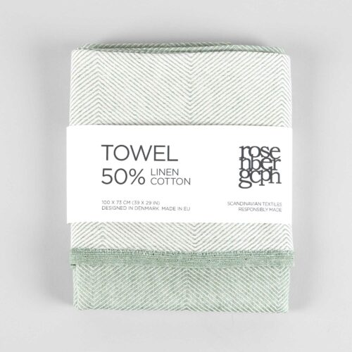 Towel, linen/cotton, green
