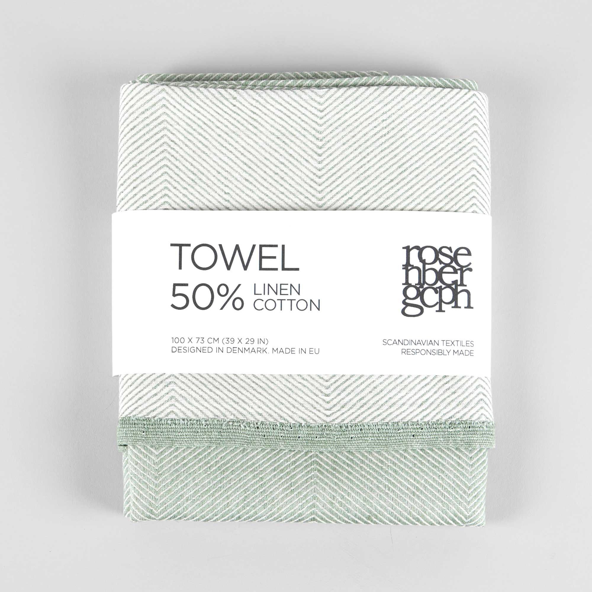 Towel, linen/cotton, green