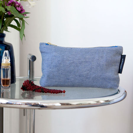shift purse blue linen