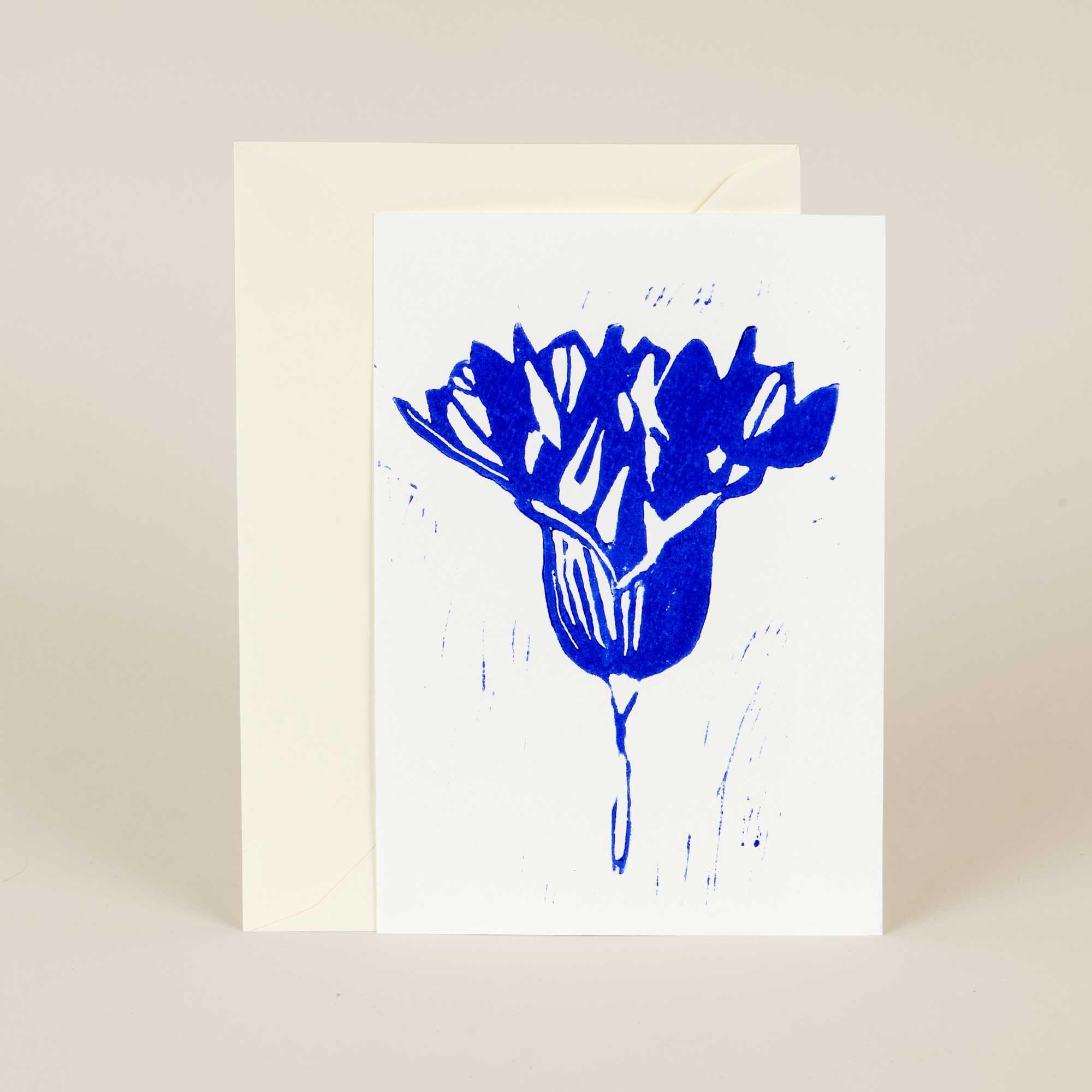 Greeting card, Onion flower, Linocut by Anne Rosenberg, RosenbergCph