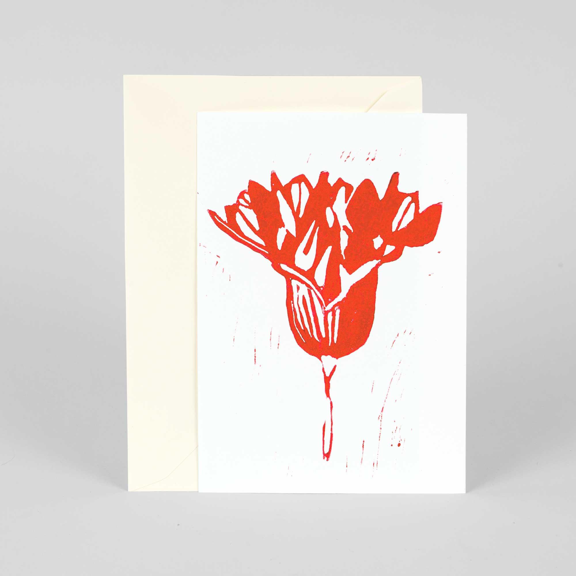 Linocut card, Onion flower, Linocut by Anne Rosenberg, RosenbergCph
