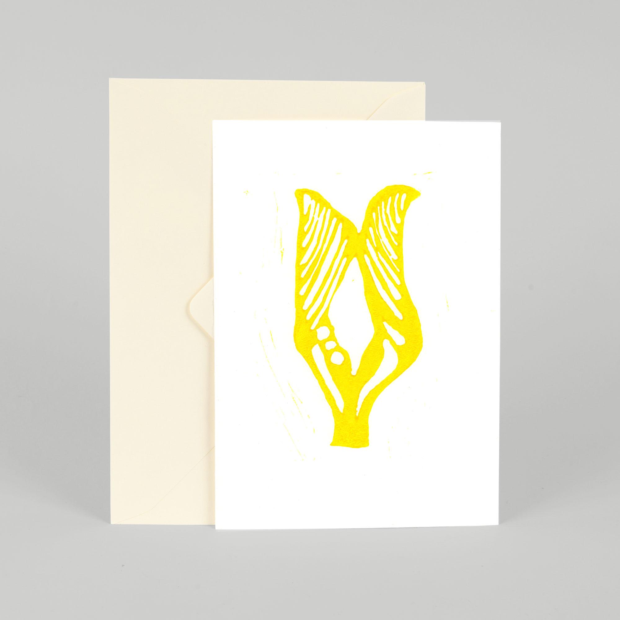 Greeting card, Twig, A5, Linocut by Anne Rosenberg, RosenbergCph