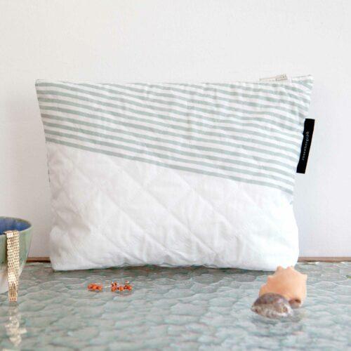 River aqua, quilted purse, limited edition, design by Anne Rosenberg, RosenbergCph