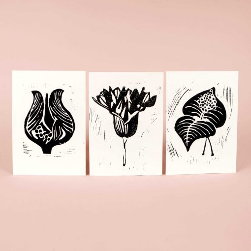 Hand printed linocut greeting cards - black series