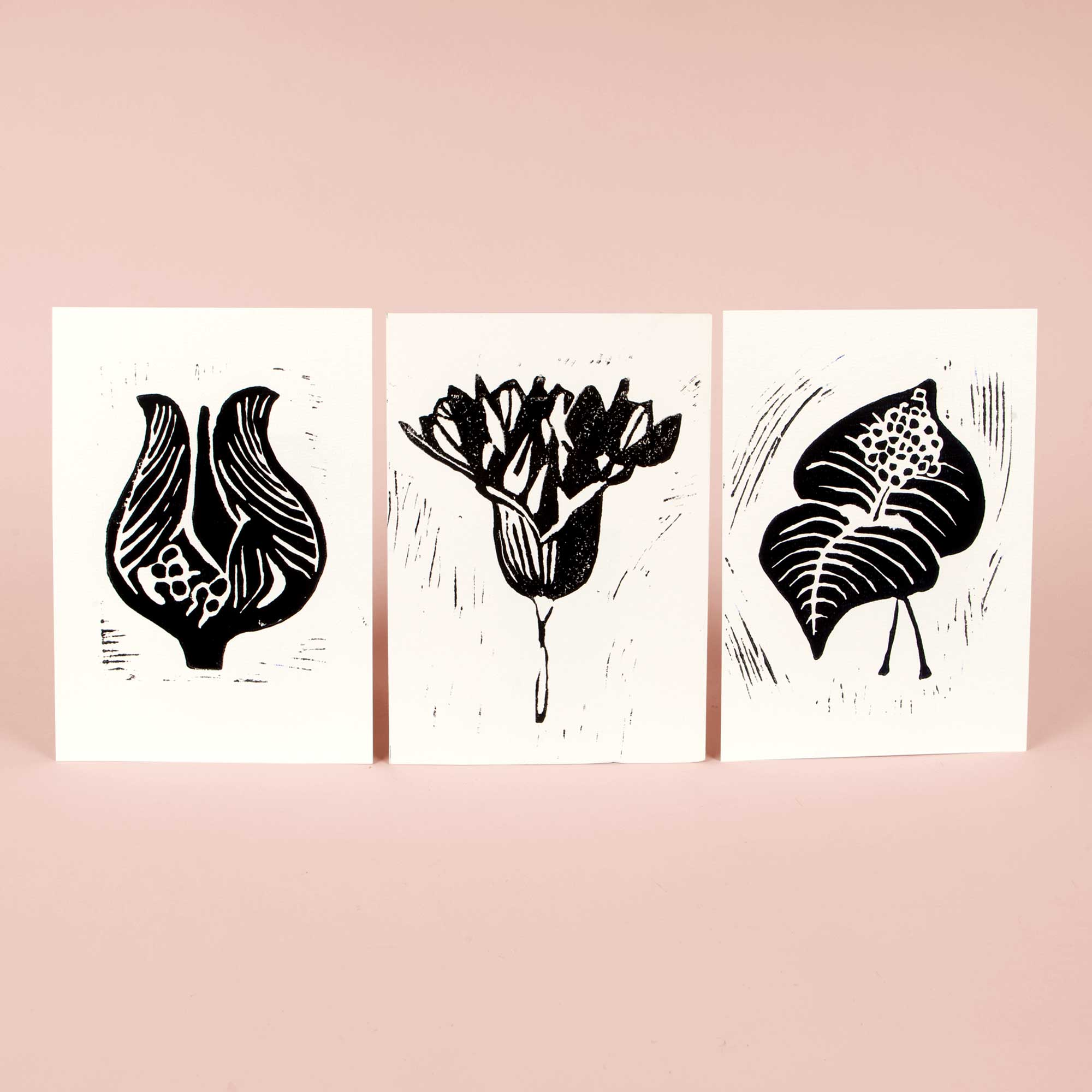 Hand printed linocut greeting cards - black series