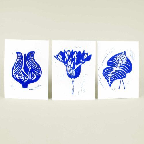 Hand printed linocut greeting cards - blue series, Linocut by Anne Rosenberg, RosenbergCph