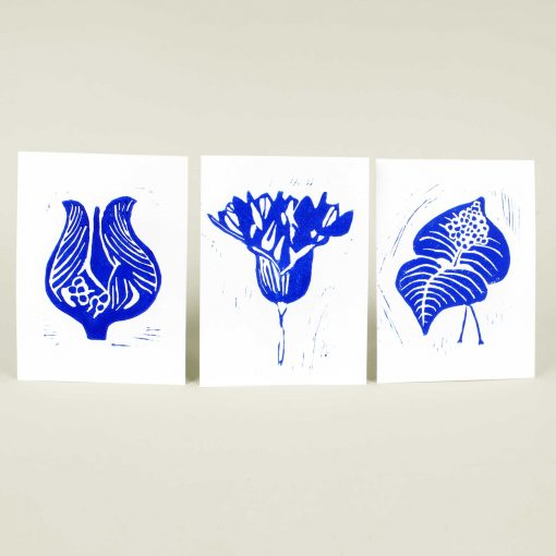 Hand printed linocut greeting cards - blue series, Linocut by Anne Rosenberg, RosenbergCph