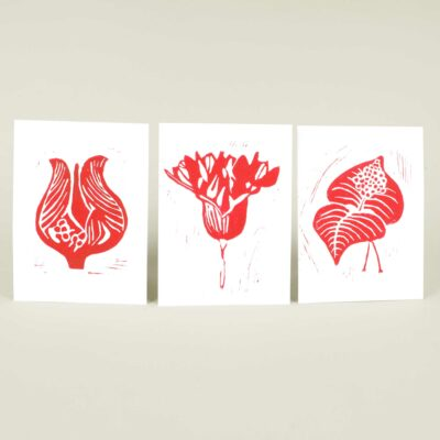 Greeting cards, red selection, Linocut by Anne Rosenberg, RosenbergCph
