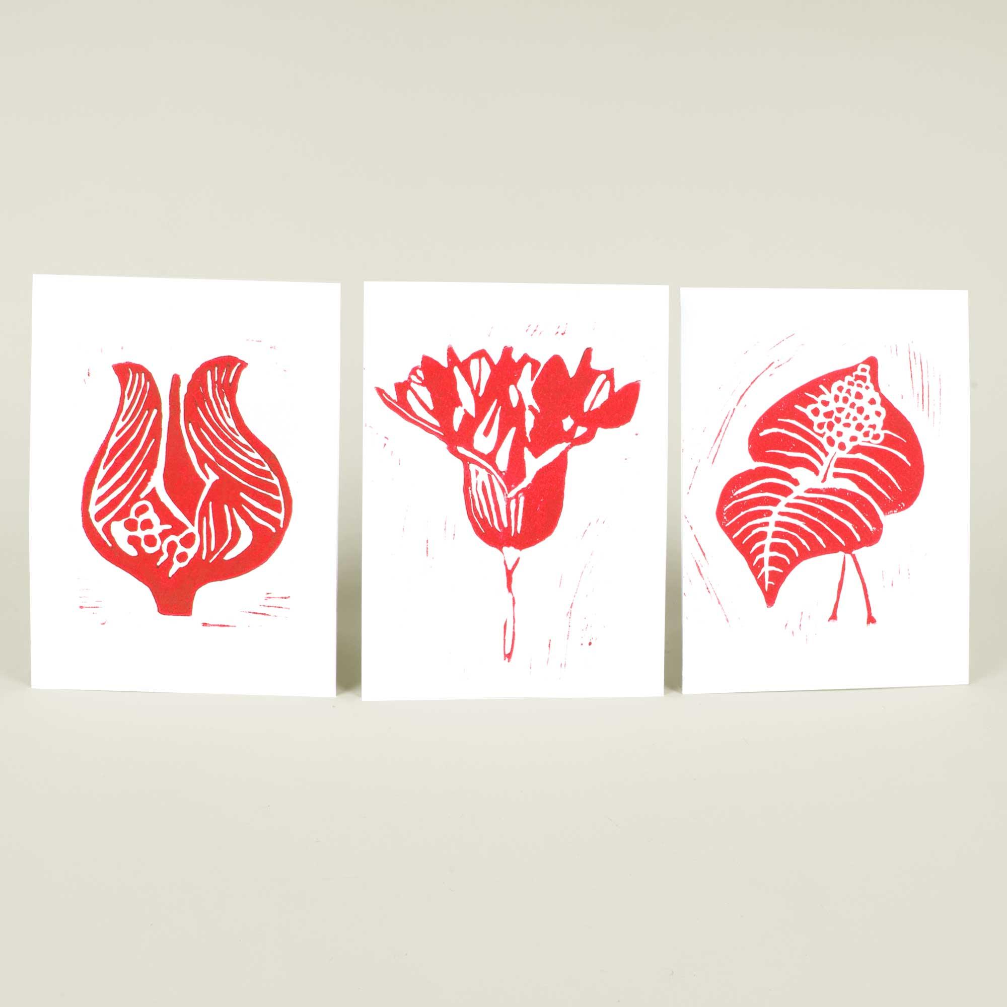 Greeting cards, red selection, Linocut by Anne Rosenberg, RosenbergCph