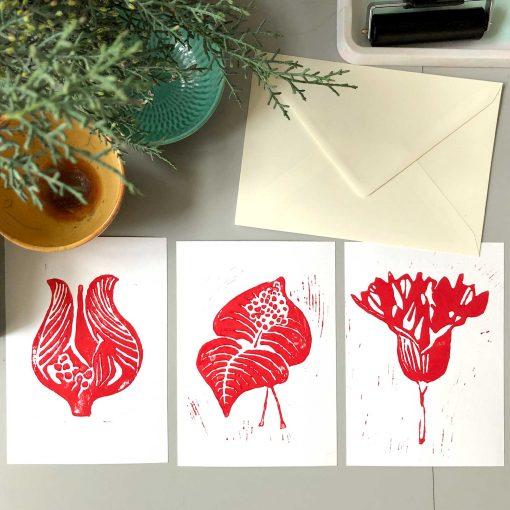 Hand printed linocut greeting cards - red series, Linocut by Anne Rosenberg, RosenbergCph